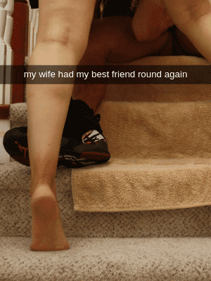 hotwife with man on stairs laying down