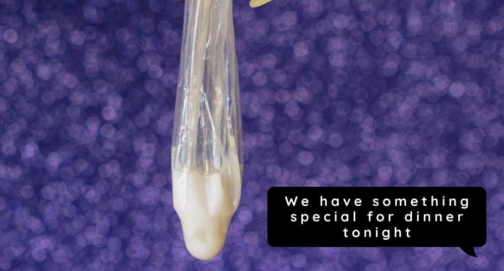 cum filled condom