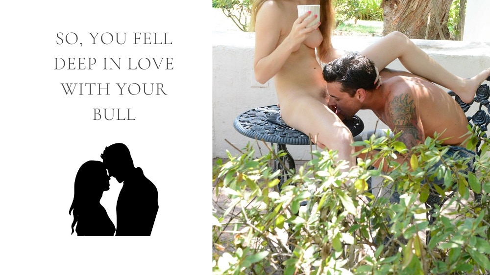 man eating a lady out while she sits on garden table